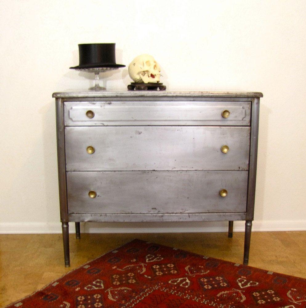 Vintage Industrial Chair 1920s Bare Steel Simmons Metal Furniture Industrial Dresser Metal