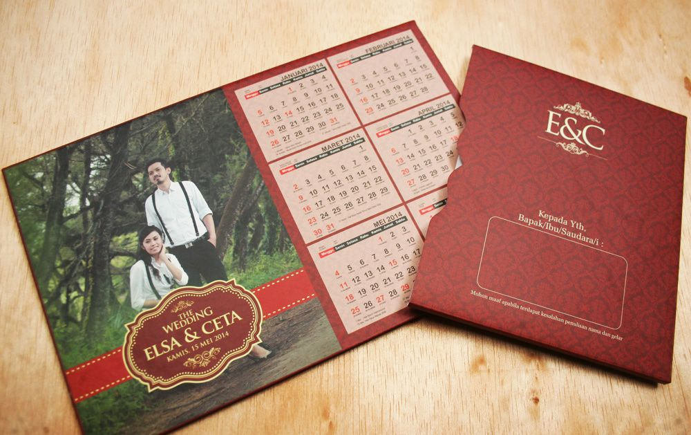 Desain Undangan Pernikahan Kalender Unik - Kartu Undangan