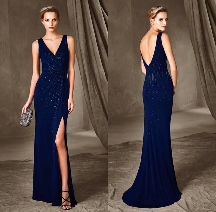 Elegant Navy Blue Crystal Sheath Evening Dresses 2016 Sexy V Neck