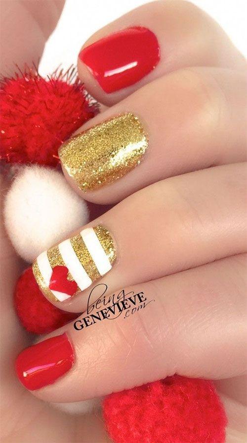 Green \u0026 Red Gold Christmas Nail Art Designs Ideas