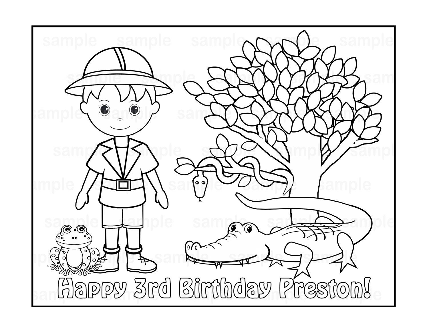 Printable coloring pages jungle animals - Free Jungle Printables Coloring Pages Jungle Coloring Pages Personalized Printable Safari Jungle Girl Boy By