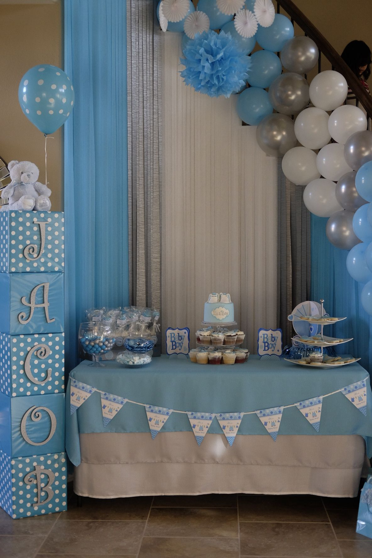 Decoracion De Baby Shower De Ni�o : decoracion, shower, Gladys, Marin, JACOB, SHOWER, Shower, Ideas,, Azul,, Ducha, Chicas