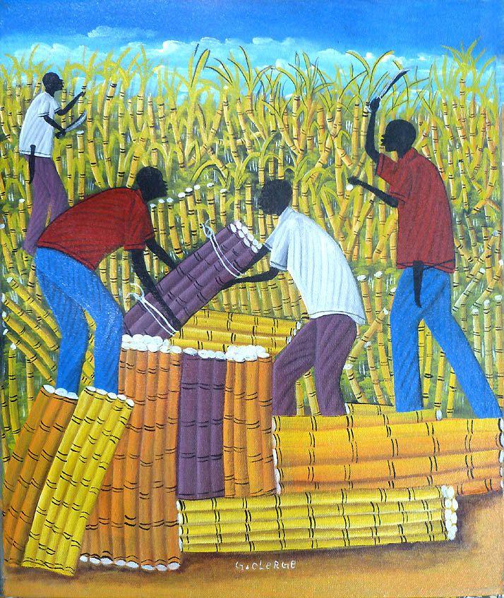Haitian Art, Haitian Painting, Canvas Art, Sugercane Cutters, Hand ...