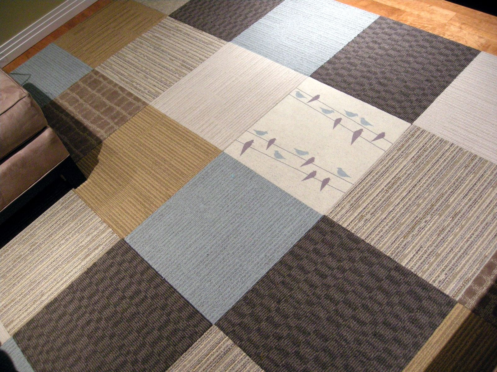 Interior Comfortable Carpet Tile Ideas With Grey Square Pattern Screen Printing Also Maple Wood