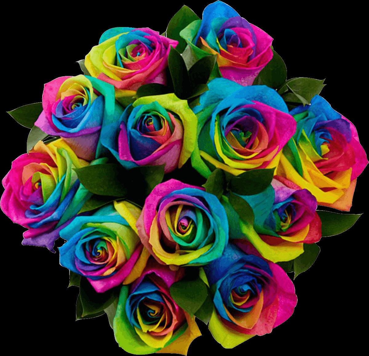 Букет разноцветных роз картинка