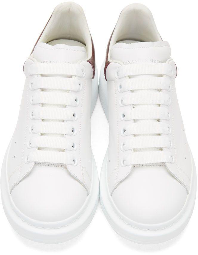 Alexander McQueen - White & Burgundy Oversized Sneakers ...