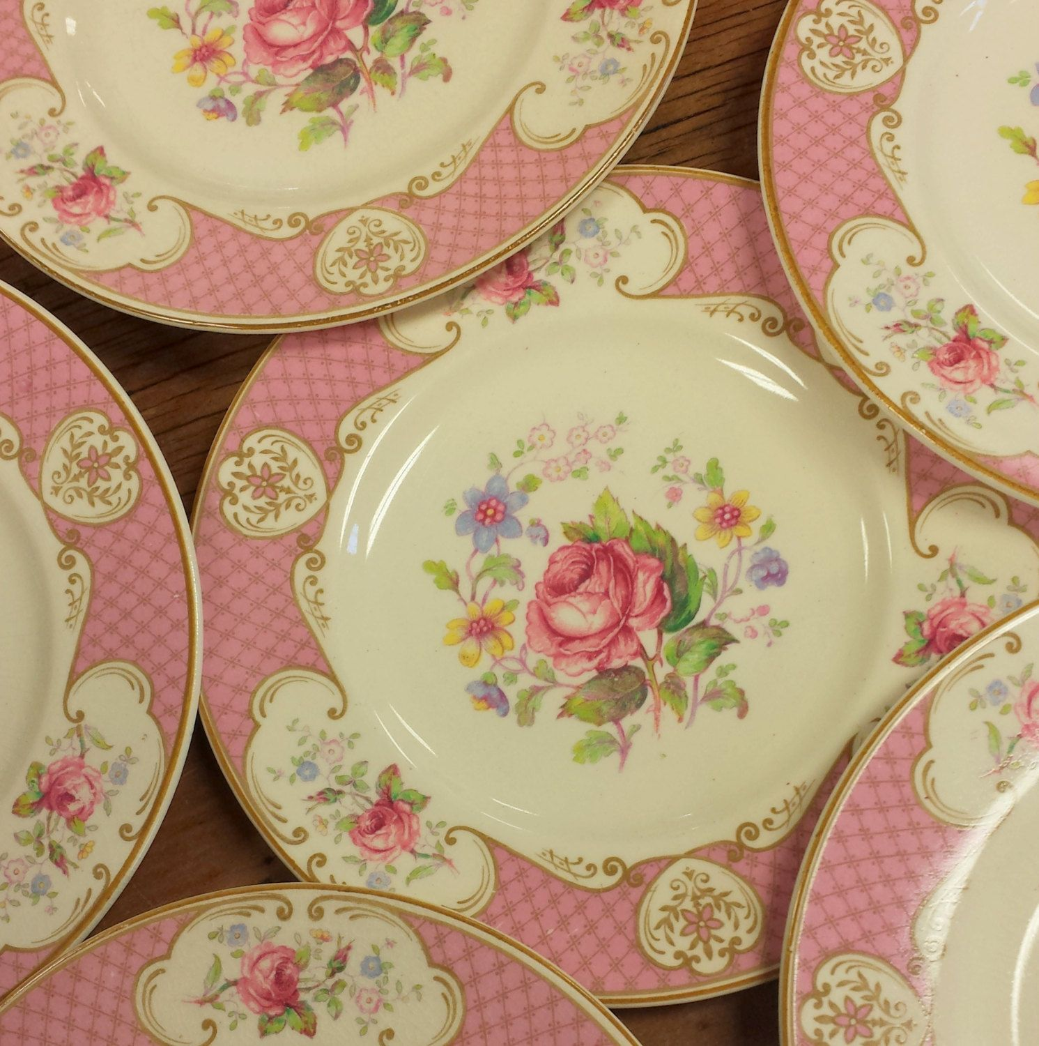 6 Side/Bread Plates ~ Myott Staffordshire Rose ~ Pink Red Roses by ...