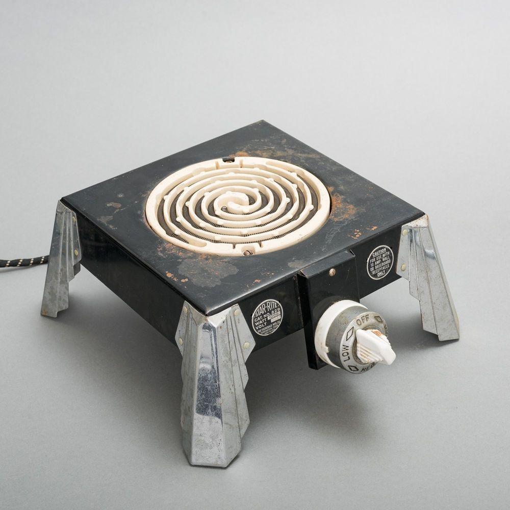 Antique 1930's Star-Rite #829 Electric Hot Plate Art Deco Bakelite Chrome Works