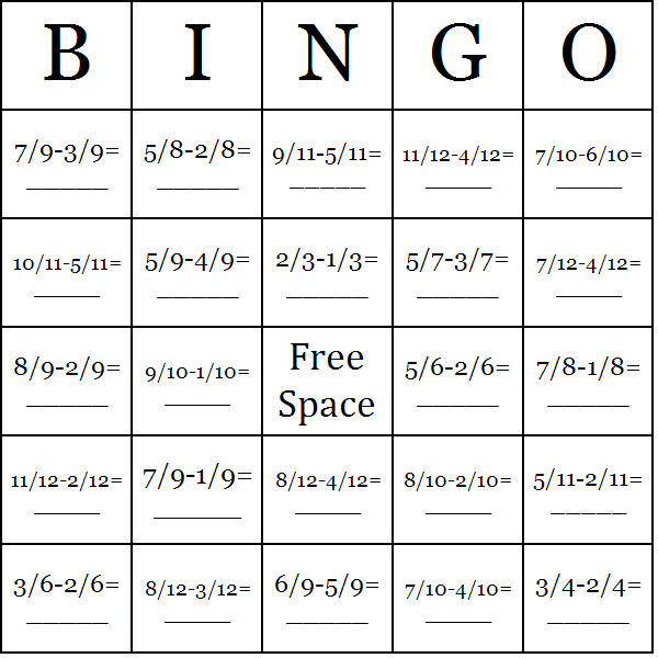 Downloadable & free subtraction of fractions with like denominators bingo cards.     -Glenna