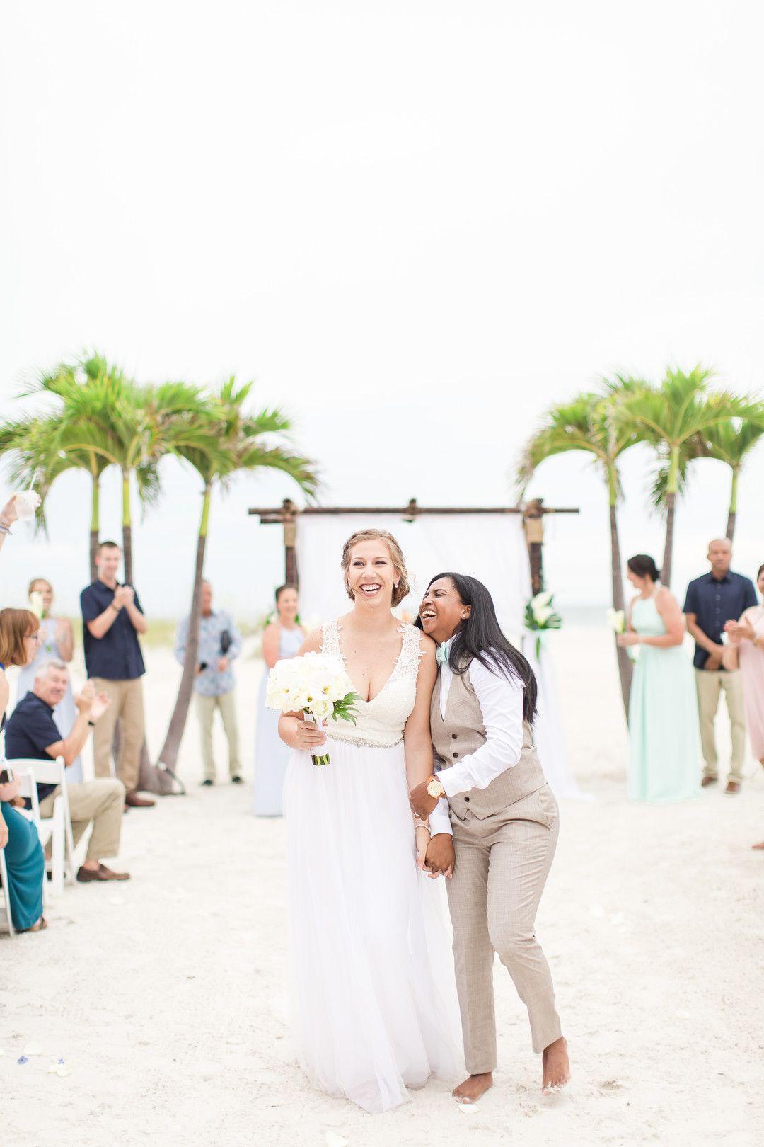 Tropical Blue And Green Beach Wedding In St Petersburg Florida Lesbian Beach Wedding Beach Wedding White Beach Wedding Bridesmaids [ 1620 x 1080 Pixel ]