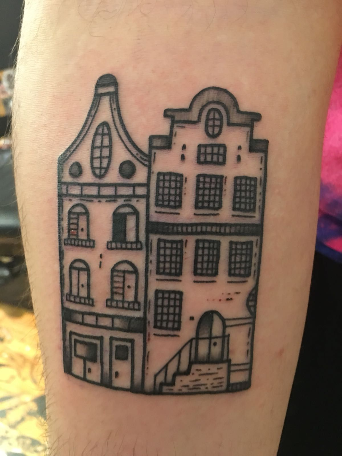 Canal Buildings Done By Kimi Vera At Wise Kid Tattoo