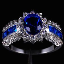 Sz 711 Royal Jewelry Womens Blue Tanzanite 10KT White Gold Filled