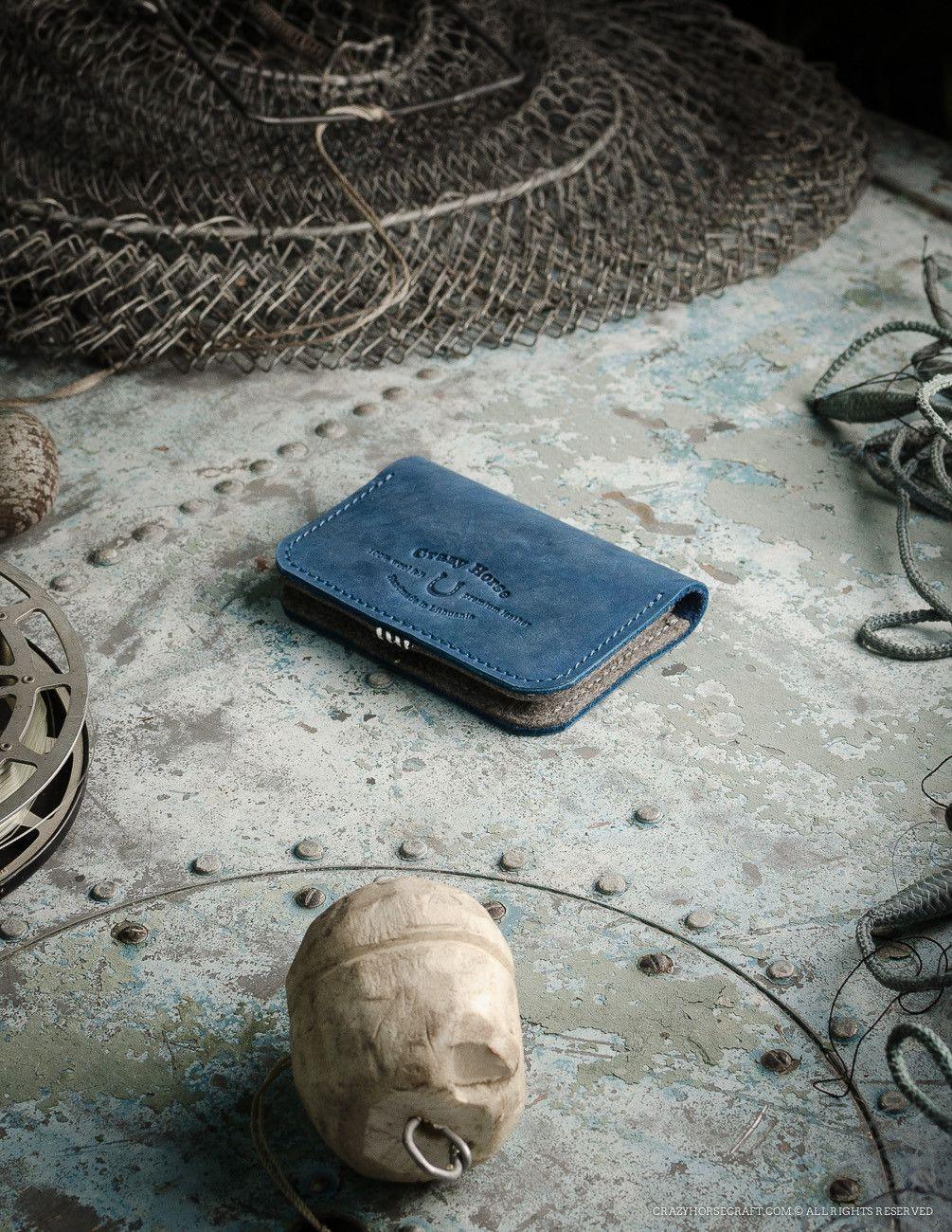 Leather Business & Credit Card Holder / Wallet | Ocean Blue ...