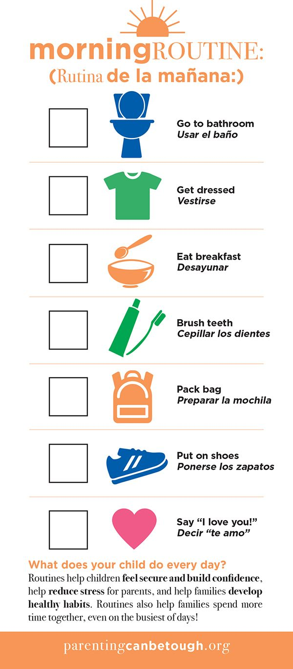 """Great Morning & Evening """"Routine Reminders"""" card for"""