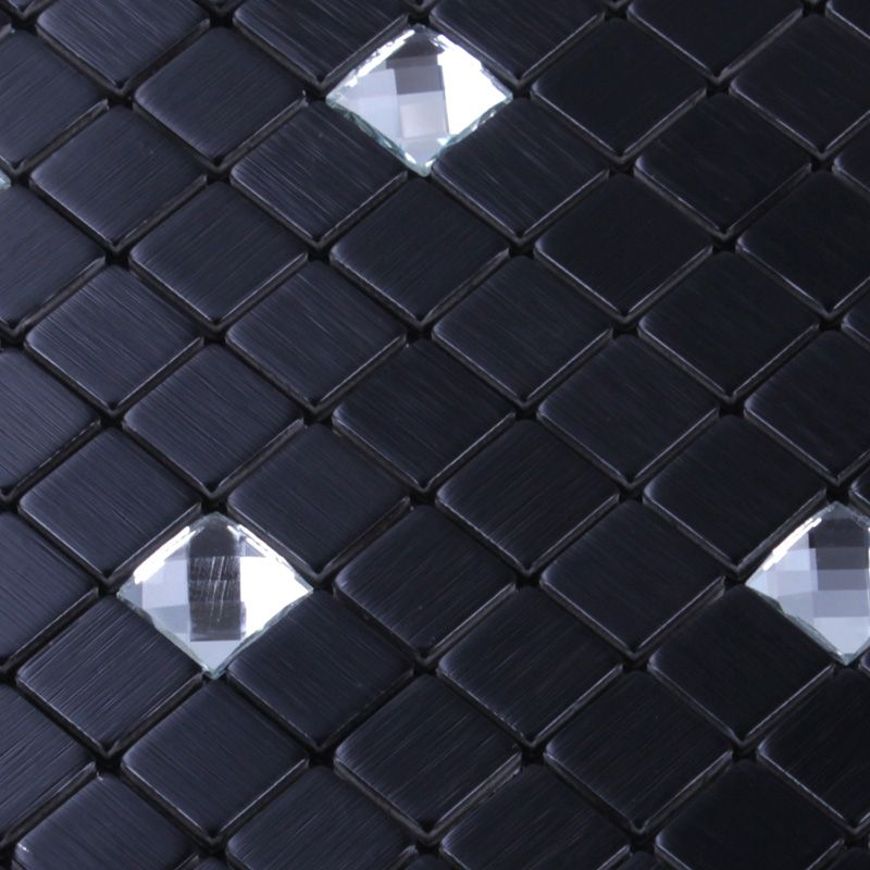 Collection Metal Glass Mosaic Tiles Material Glass Stainless Steel Color Black And Stainless Steel Sheet Metal Metallic Backsplash Stainless Steel Sheet