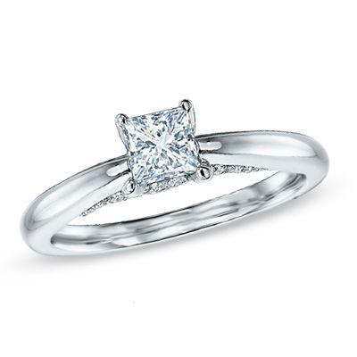 Celebration Grand™ 7/8 CT. T.W. Certified Princess-Cut Diamond Engagement Ring in 14K White Gold (I-J/I1) - Zales