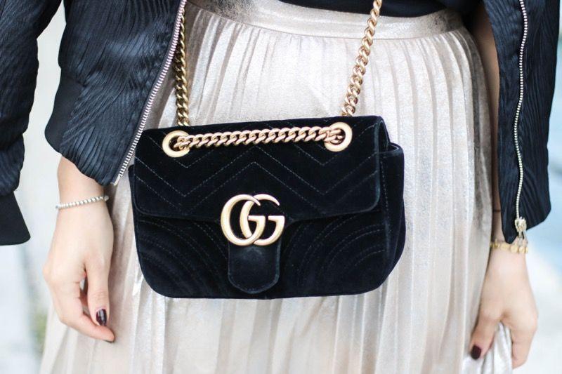 Lancôme Matte Shaker | Gucci Marmont Velvet Bag | Metallic Pleated Skirt | Bomber Jacket | Istanbul Streetstyle | Fashionnes