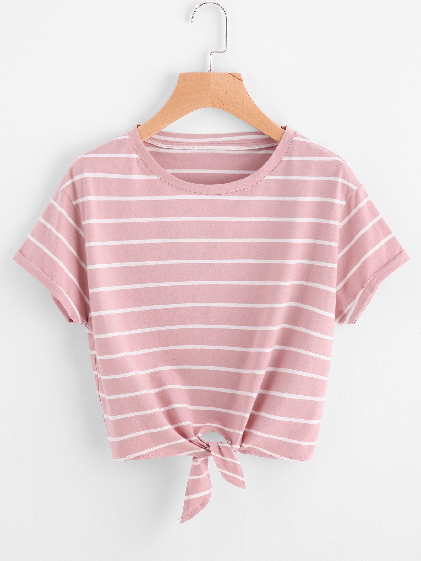 Camiseta de rayas con nudo en la parte delantera -Spanish SheIn(Sheinside) aa35a575027