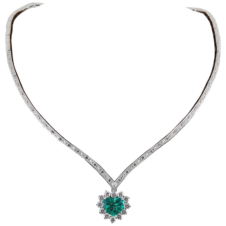 Rare AGL Certified Fine Colombian Heart Shaped Emerald Diamond Gold Necklace | 1stdibs.com