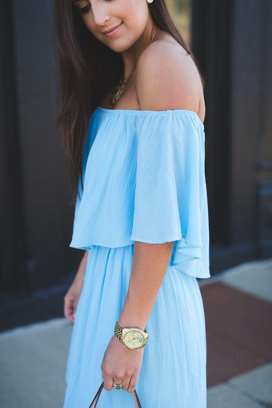 Feminine off the shoulder dress pinterest gold monogram necklace