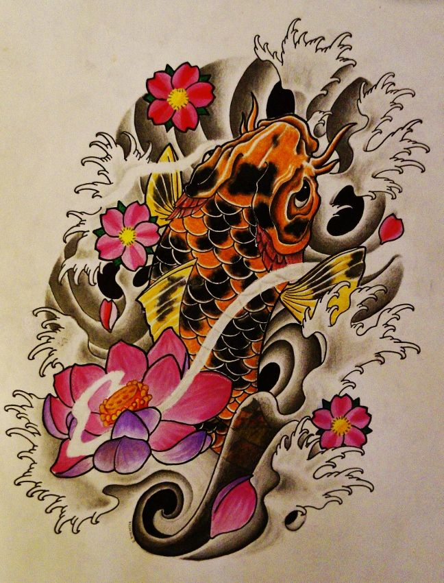 Koi Fish Lotus Cherry Blossom Tattoo By 814ck5t4r Lotus Flower Drawing Cherry Blossom Tattoo Flower Drawing