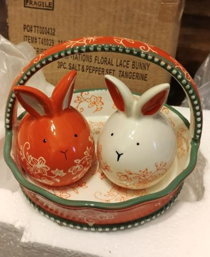 Other Dinnerware 175802: Temptations Floral Lace Tangerine Bunny 3Pc Salt  And Pepper Set  U003e