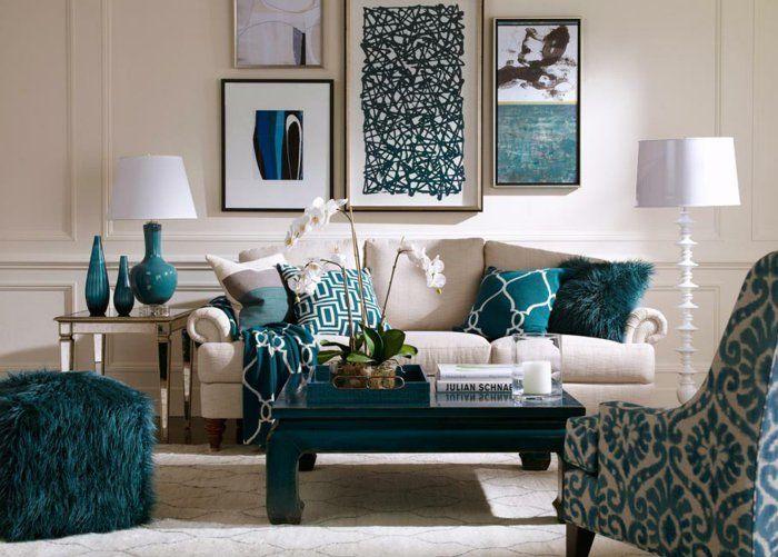 1001 Idees Pour La Decoration D Une Chambre Bleu Paon Salon