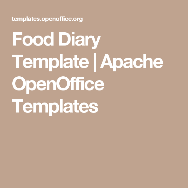 Food diary template apache openoffice templates for Open office journal template