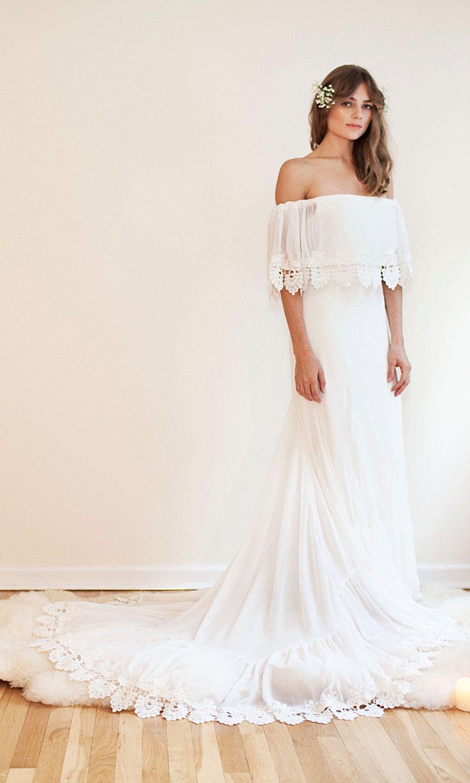 Bohemian off the shoulder gown chiffon wedding dress boho bride