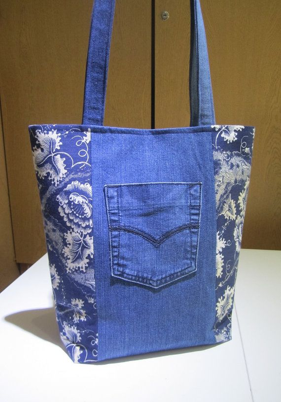Upcycled Jeans Tote Bag Laura Ashley Fabric Denim by