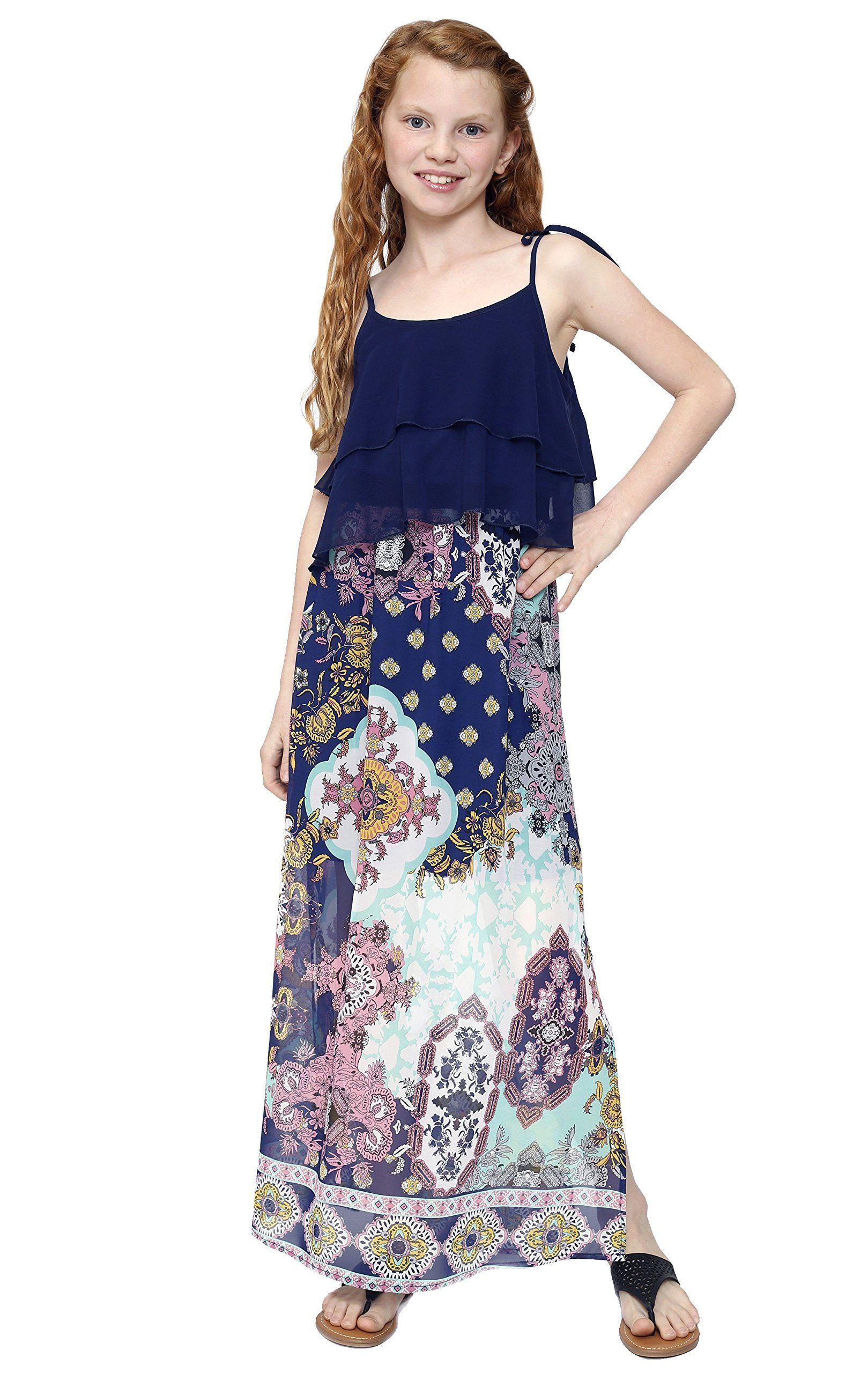 Truly Me, Big Girls Tween Bohemian Print Maxi Dress (Many ...