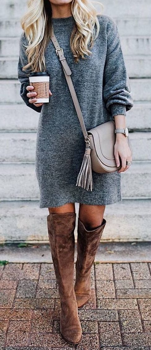 Gray sweater dress  knee high boots Western fashion chic classy vintage shoes Gray sweater dress  knee high boots Western fashion chic classy vintage shoes