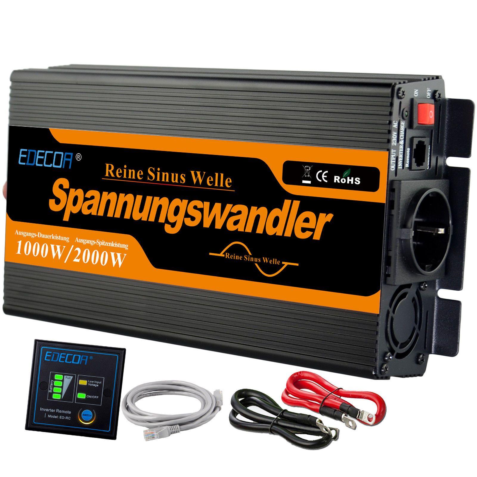 Details Zu Spannungswandler Reiner Sinus 1000w 2000w 12v 230v Wechselrichter Fernbedienung