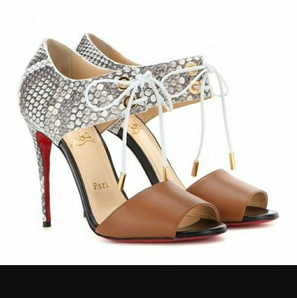 CHRISTIAN LOUBOUTIN MAYERLING SANDALS python Crafted of brown calf skin and  multicolored python, Christian Louboutin's