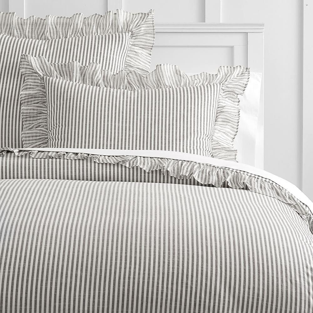 The Emily & Meritt Ruffle Stripe Duvet Cover, King