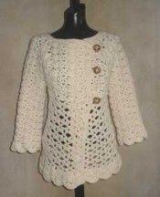 photo of #76 Vintage Top-Down Crochet Cardigan #SweaterBabe.com #crochet