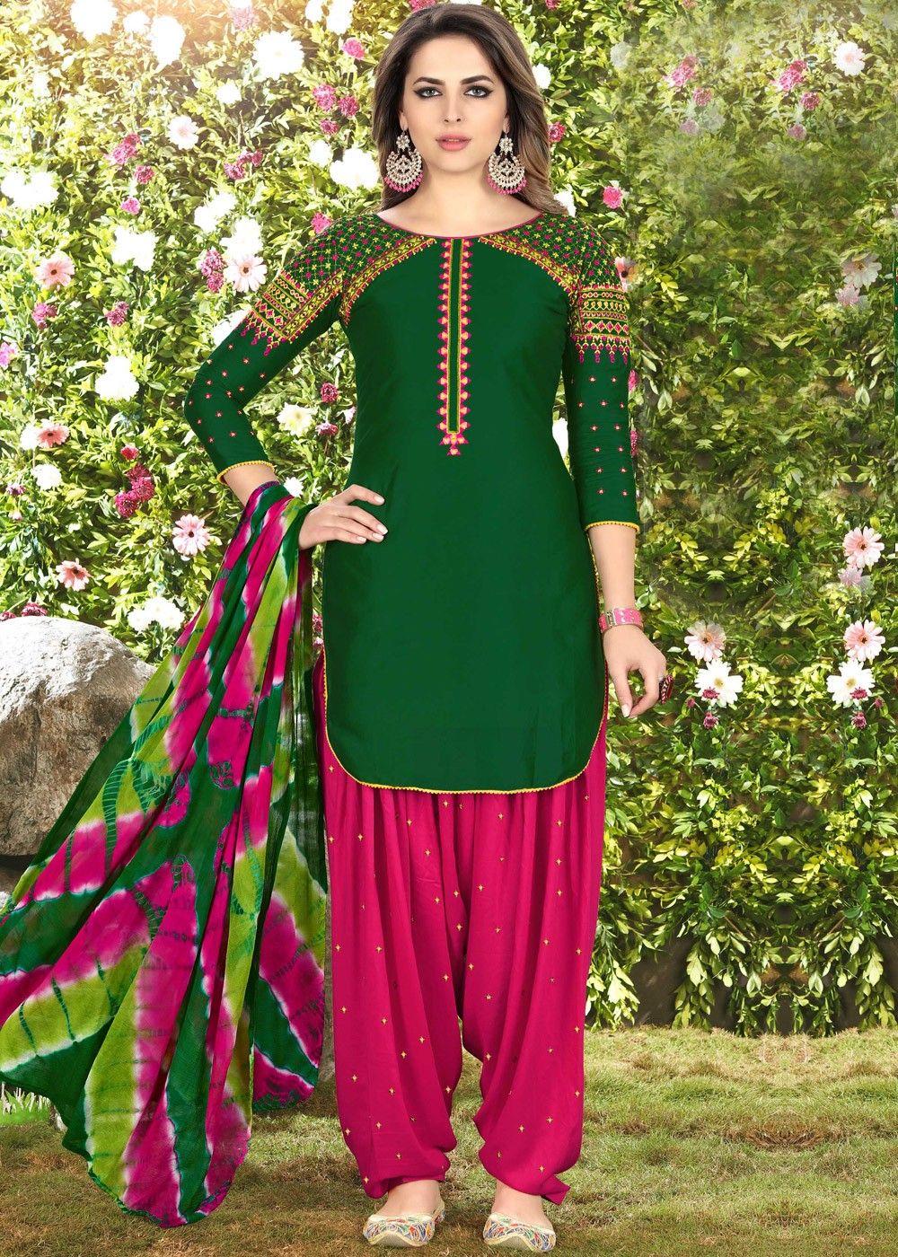 a865f4ebb0 Dark Green Cotton Punjabi Salwar Suit with Dupatta in 2019 | Latest ...