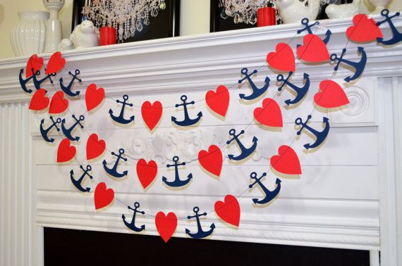 Anchor Heart garland, red navy nautical garland, nautical wedding decoration, nautical bridal shower decor, bachelorette beach theme decor