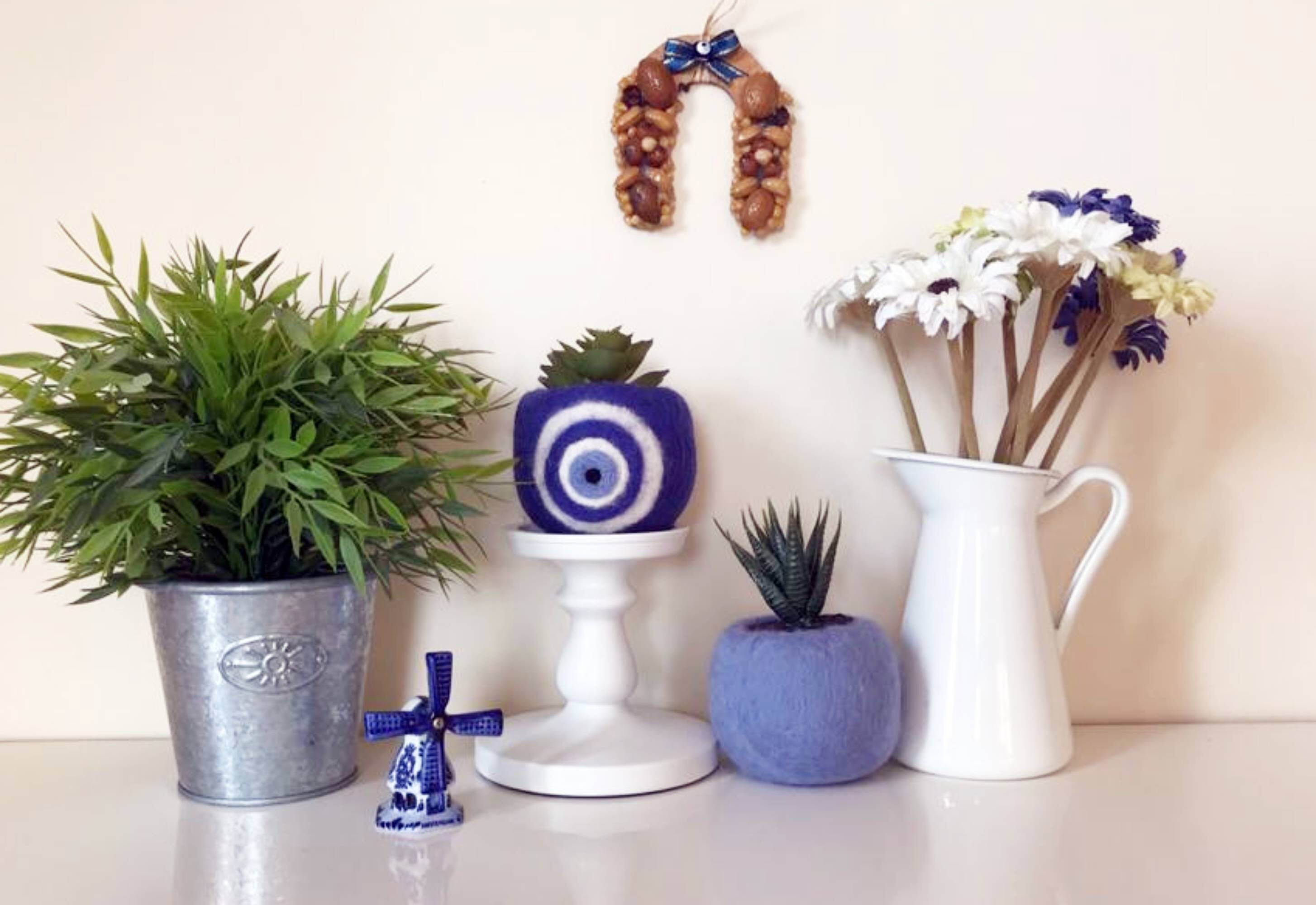 gardening gift for her table centerpiece blue planters planter pots Decorative evil eye cactus planter decor home decor gift for mom