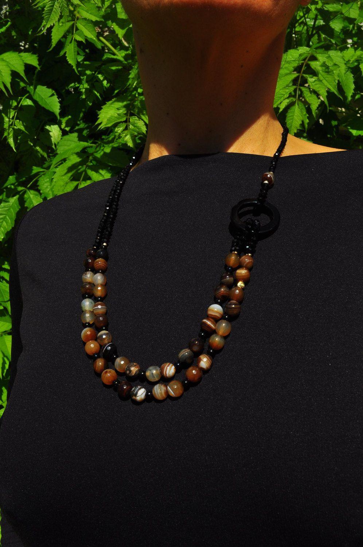 necklace of precious stones agate Botswana, 925 silver, black onyx. collana in pietre dure di agata Botswana nera, argento 925, onice nero. di Oxidex su Etsy