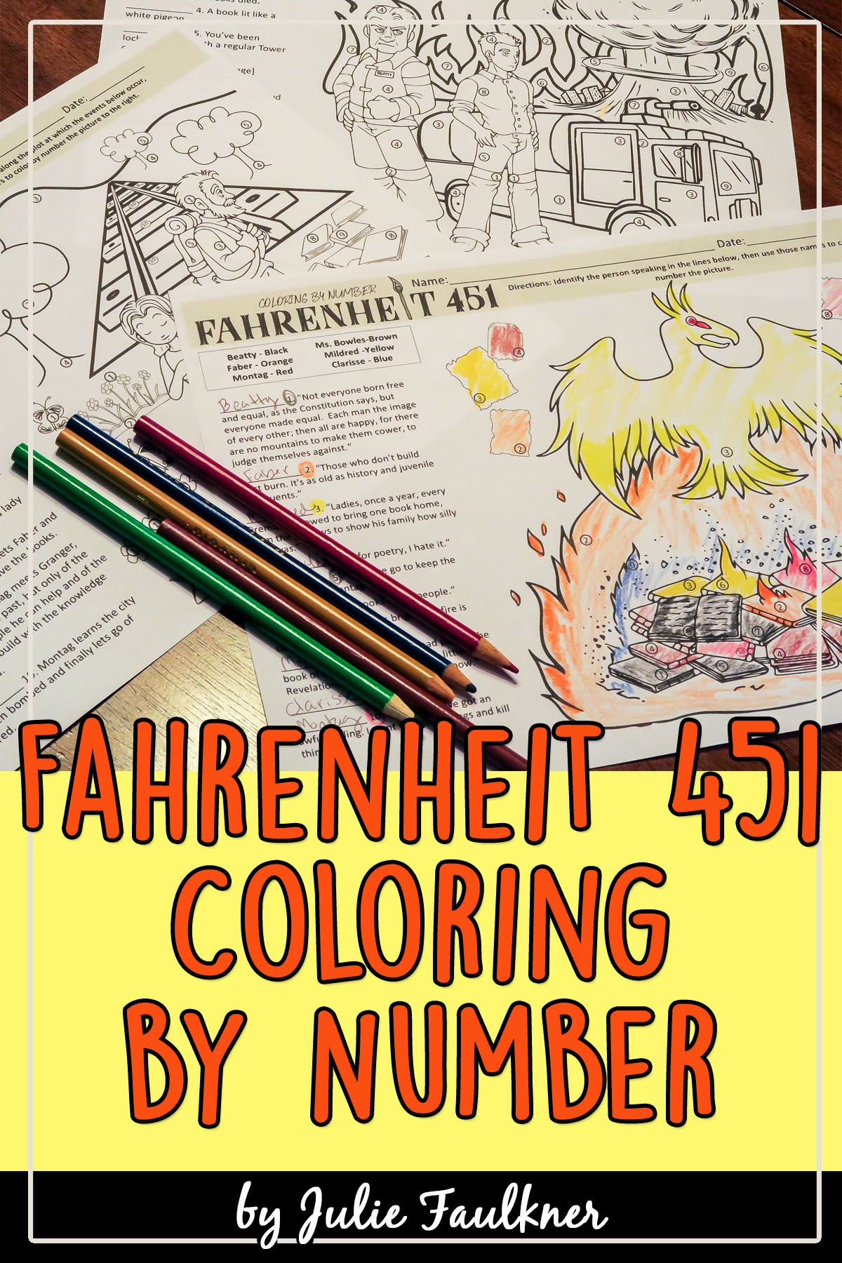 Fahrenheit 451 Coloring Activity Fahrenheit 451 Teaching American Literature Color Activities [ 1800 x 1200 Pixel ]