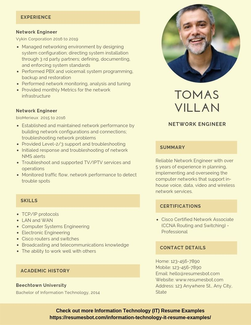 Network Engineer Resume Samples & Templates [PDF+DOC] 2019
