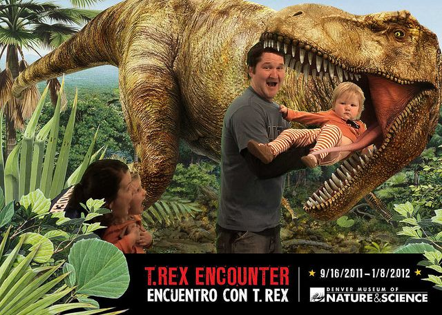 feeding my baby to the dino at the denver museum! great exhibit