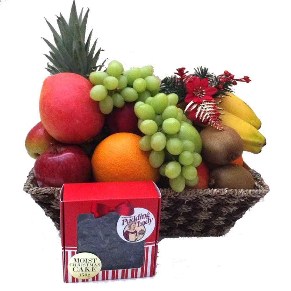 THE PUDDING LADY CHRISTMAS CAKE FRUIT BASKET  http://igiftfruithampers.com.au/fruit-baskets/the-pudding-lady-christmas-cake-fruit-basket
