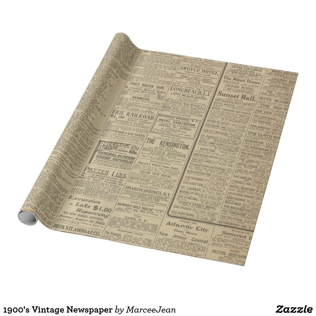 1900 S Vintage Newspaper Wrapping Paper Zazzle Com Vintage Newspaper Newspaper Wrapping Personalised Wrapping Paper