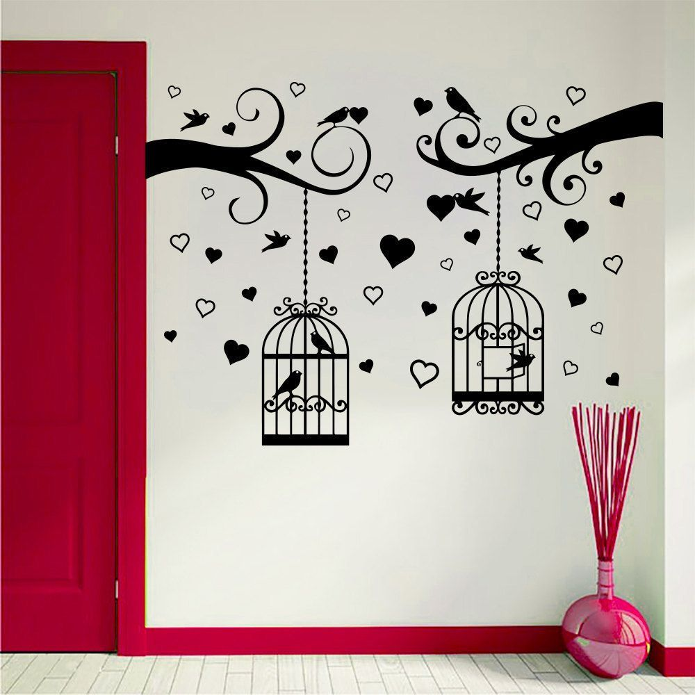 Wall Decal Tree Branches With Birdcages Birds Hearts Art Wall Baby Room Home Decor