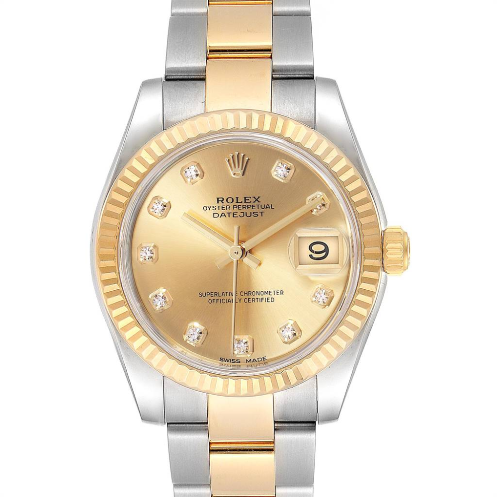 Rolex Datejust Midsize Steel Yellow Gold Diamond Ladies Watch 178273 #rolexwatches
