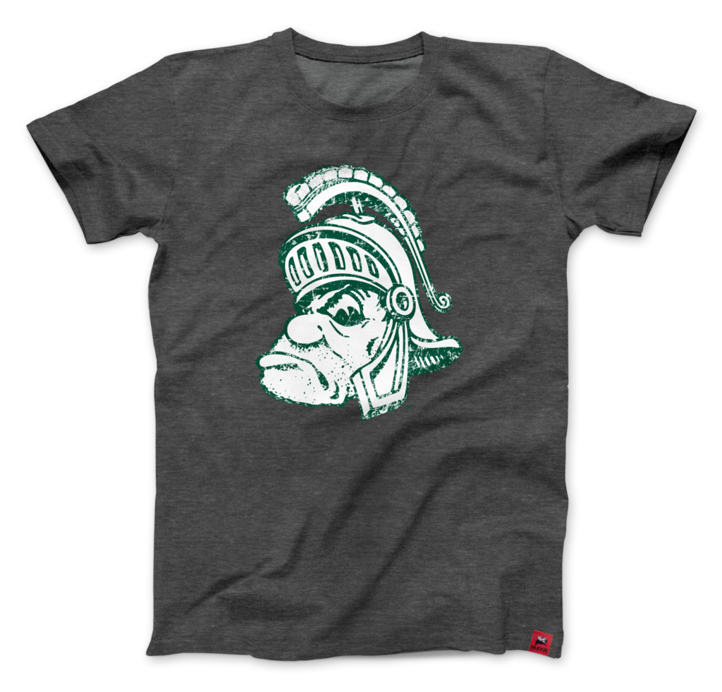Michigan State University Spartans Vintage Gruff Sparty T Shirt Charcoal State Clothes State Shirts Michigan State [ 982 x 1024 Pixel ]