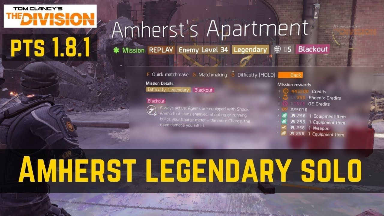 The Division Amherst's Apartment Legendary Solo (PTS 1 8 1