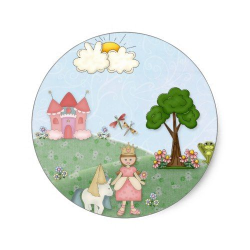 Unicorn Birthday Favors Princess and her castle classic round sticker